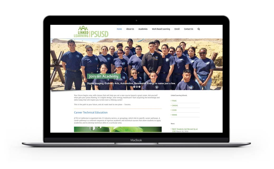 Website Design for Linked Learning PSUSD